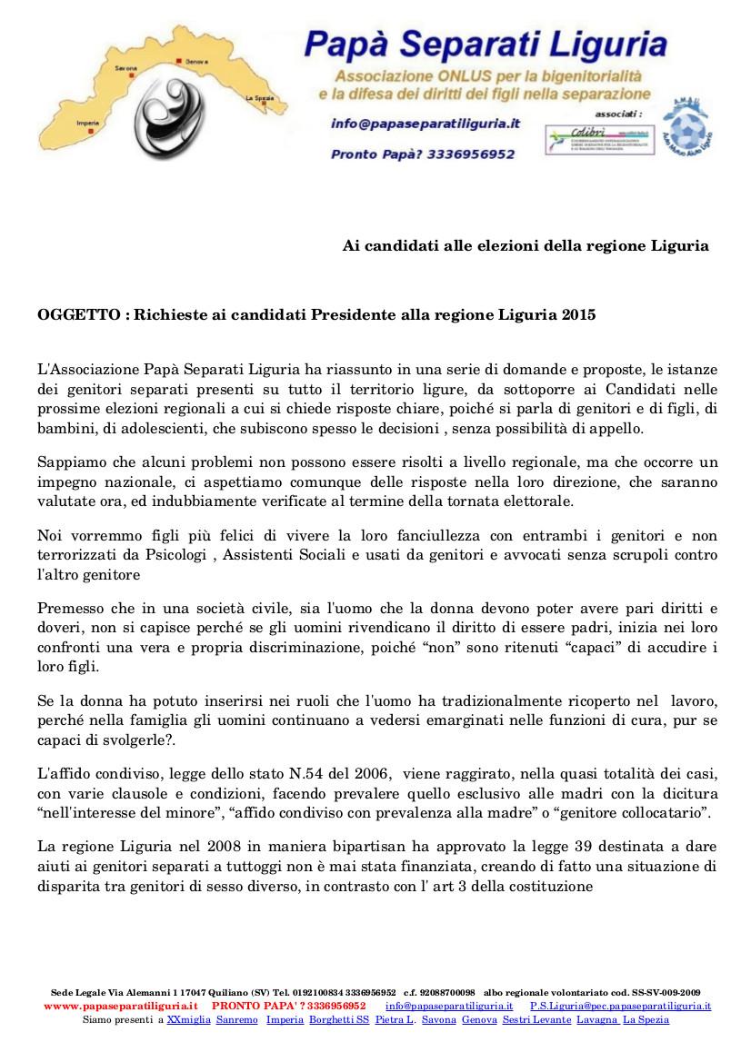 Quesiti ai candidati per le regionali 2015-1